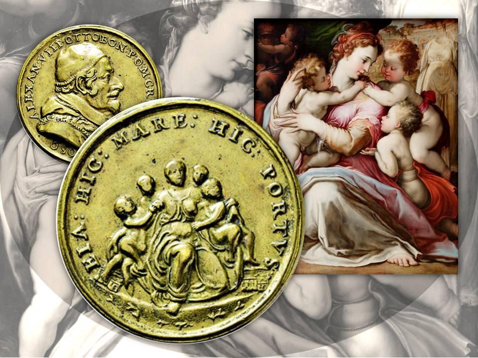 A sinistra, la Carità circondata da bambini su una medaglia del 1691 a nome di papa Alessandro VIII; a destra, un simile soggetto nel dipinto di Francesco de' Rossi (foto Yelkrokoyade, licenza CC BY-SA 4.0, da Wikipedia)