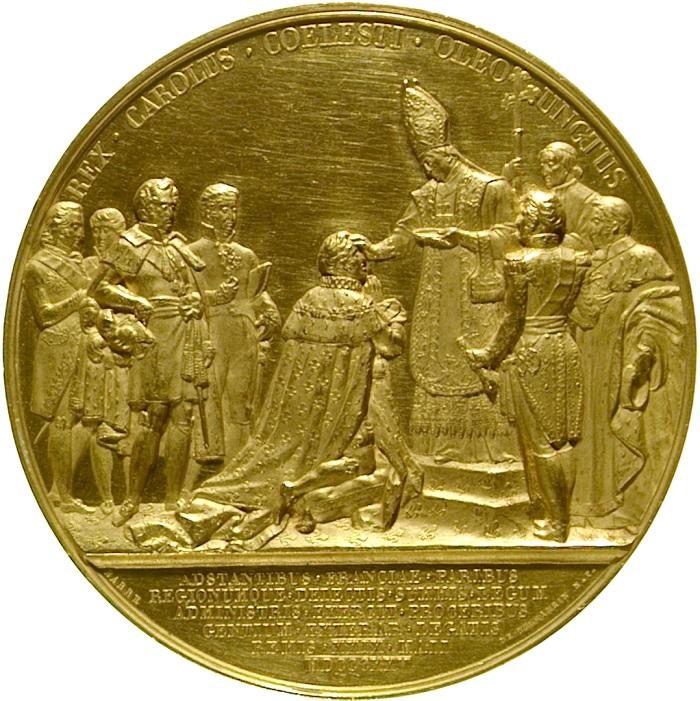 Il rovescio della coniazione celebrativa realizzata nel 1824 mostra l'unzione del sovrano, per mano del primate di Francia, e circondato da altri dignitari di corte