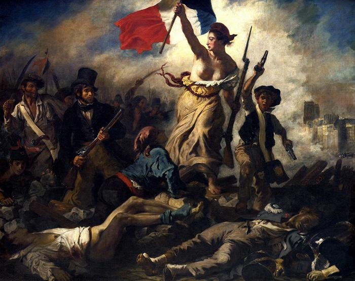 """""""La Libertà guida il popolo"""", dipinto di Eugène Delacroix che ricorda le """"Tre giornate gloriose"""" che misero fine al regno di Carlo X nel 1830"""