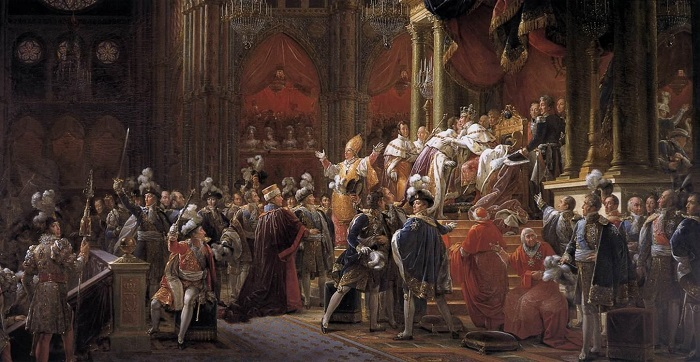 La solenne incoronazione di Carlo X a Reims vista dal pittore François Gérard