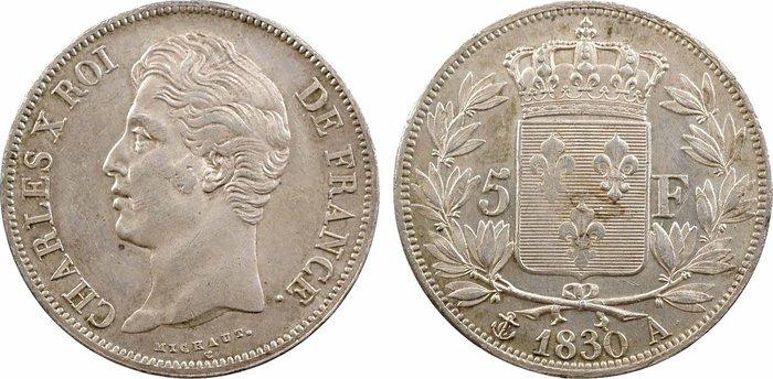 """Una delle ultime monete di Carlo X, i 5 franchi in argento coniati dalla zecca della capitale Parigi nel 1830, """"canto del cigno"""" numismatico di un sovrano controverso"""