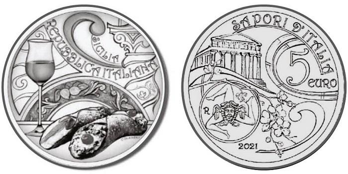Fa tappa al sole della Sicilia, per questo 2021, la serie numismatica Sapori d'Italia che celebra l'abbinamento fra il goloso cannolo ripieno di ricotta e frutta candita e il celebre passito prodotto sull'isola