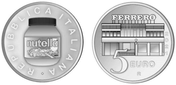 """Fra le monete italiane 2021 """"in techniocolor"""", come autentica eccellenza del nostro paese, la Nutella merita il posto occupato, negli scorsi anni, da icone come la macchina da scrivere Olivetti Lettera 22 e la Vespa Piaggio"""