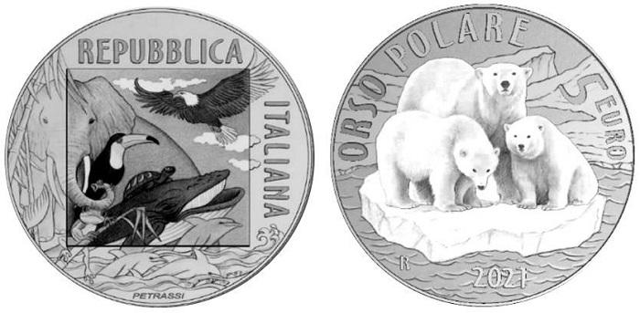 Una famiglia di orsi polari alla deriva sul ghiaccio è stata disegnata dall'artista Silvia Petrassi come soggetto per il rovescio della moneta da 5 euro in bronzital a colori della serie Mondo sostenibile, animali in via di estinzione