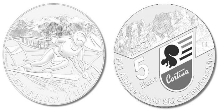 Spiccherà di certo il candore della neve sulle belle monete da 5 euro in argento dedicate ai prossimi Campionati mondiali di sci alpino che si terranno a Cortina d'Ampezzo nel mese di febbraio