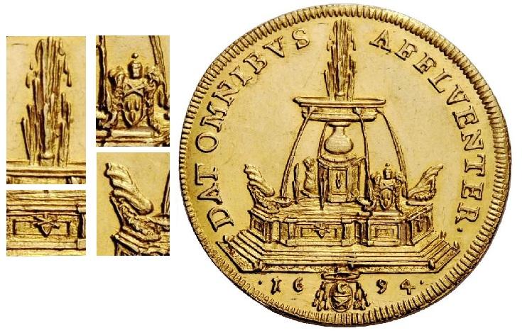 """Dettagli del rovescio di quella fenomenale """"cartolina numismatica"""" che è la quadrupla papale del 1694: gli zampilli d'acqua, le armette papali (ben evidente quella di Innocenzo XII) e una delle eleganti valve decorative"""