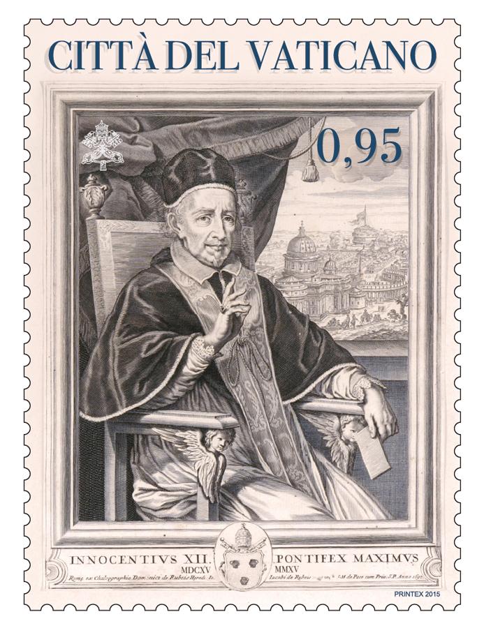 Papa Pignatelli celebrato nel 2015 da un francobollo emesso dallo Stato della Città del Vaticano