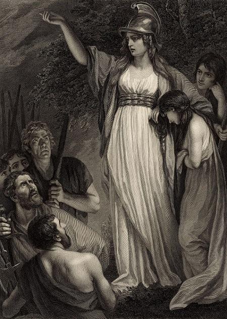 Bodiacea, regina degli Iceni, arringa il suo popolo incitandolo a ribellarsi alle legioni romane che avevano occupato l'Inghilterra