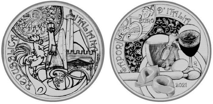 Altrà novità numismatica per il 2021 è la terza moneta dedicata al patrimonio enogastronomico delle regioni italiane: la 5 euro firmata Maria Carmela Colaneri fa tappa tra i monumenti e i sapori dell'Emilia Romagna