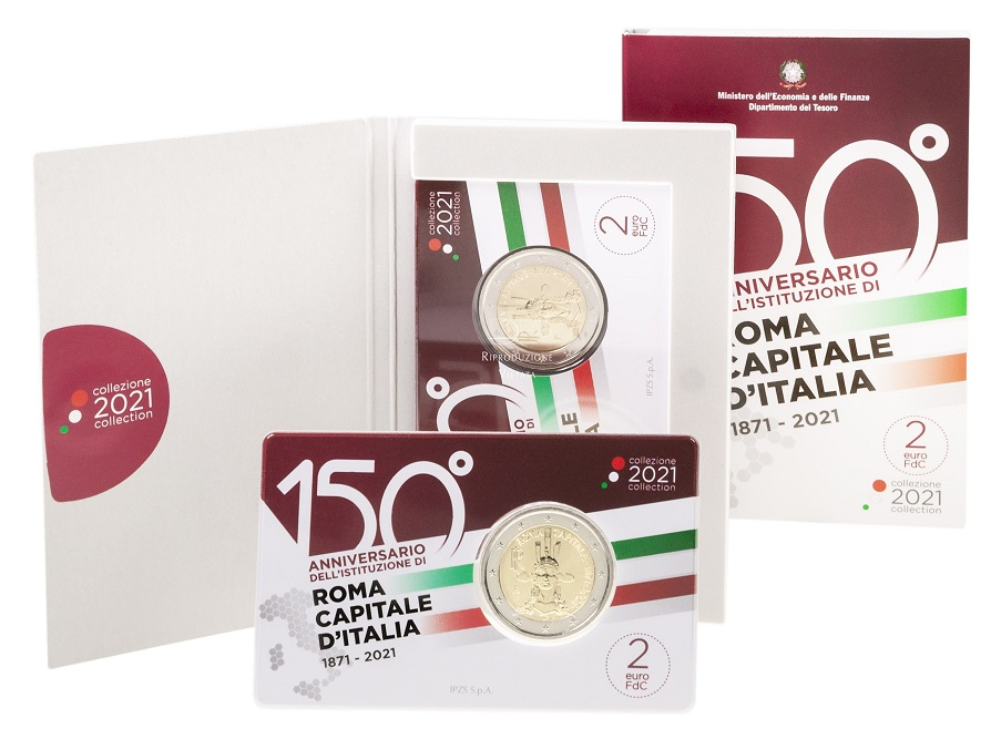La moneta commemorativa da 2 euro per il 150° anniversario di Roma capitale d'Italia in verione fior di conio, confezionati in coincard con blister in tema