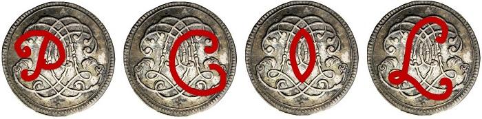 """Le lettere PCOL che, sul monogramma, una volta """"sciolte"""" restituiscono correttamente la legenda """"Pietro cardinale Ottoboni legato"""""""