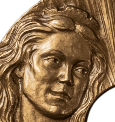 Il volto dell'Italia modellato da Sandra Deiana sulla medaglia calendario 2021 di Picchiani & Barlacchi