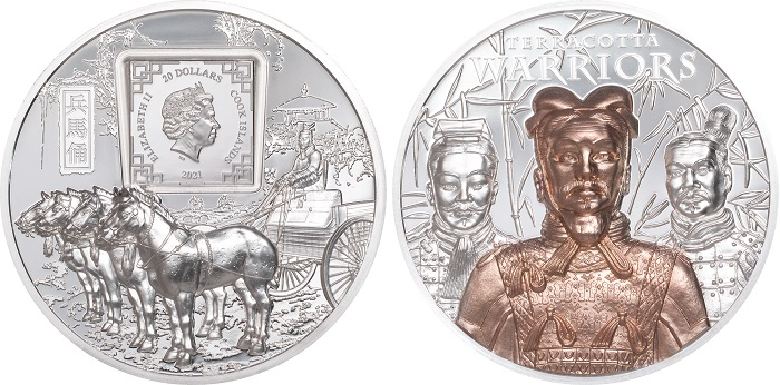 I 20 dollari di Cook che celebrano l'Esercito di terracotta cinese del III secolo a.C. pesano tre once d'argento, sono in altorilievo e hanno una parziale placcatura al rovescio che esalta la figura centrale del soggetto