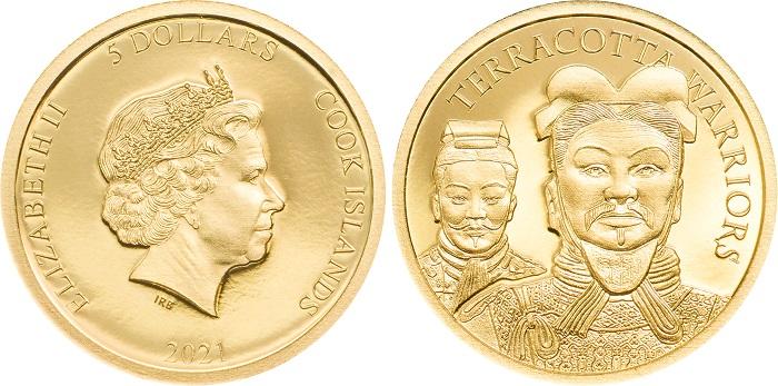 Un dettaglio di due dei soldati dell'imperatore Qin Shihuang Di sul dritto della micro moneta in oro da 5 dollari al cui dritto campeggia la regina Elisabetta II d'Inghilterra ritratta da Ian Rank-Broadley