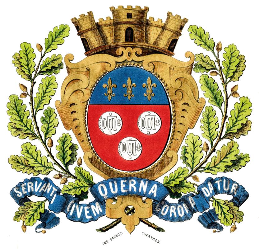 Lo stemma della città francese di Chartres, famosa in tutto il mondo per la sua magnifica cattedrale gotica