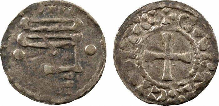 Denaro anonimo in mistura della Contea di Chartres risalente a fine X o inizio XI secolo