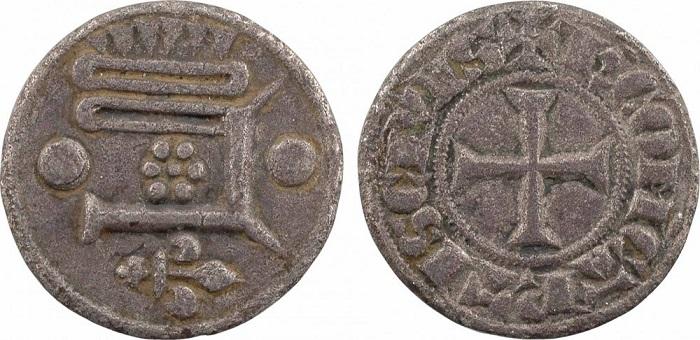 """Carlo di Valois, """"piéfort large du denier"""" del periodo 1293-1325) con simbologia molto simile a quella delle monete presenti nello stemma di Chartres"""