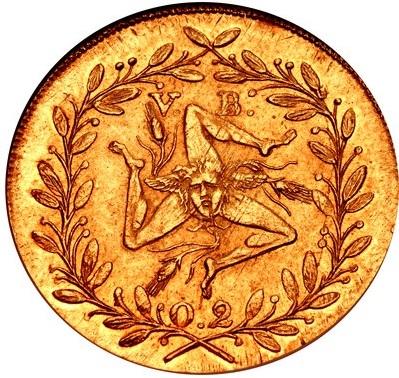 Il rovescio della doppia oncia palermitana del 1814