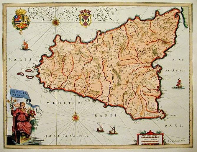 L'isola di Sicilia in una pregevole mappa antica