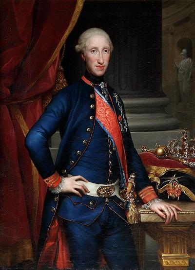 Ferdinando III di Borbone, ancor giovane, ritratto da Anton Raphael Mengs nel 1772