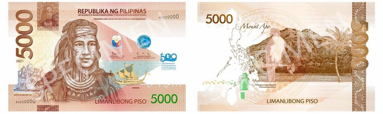 Lapulapu, apparso già su molte monete e banconote delle Isole Filippine, è protagonista anche della banconota da 5000 piso stampata per il 500° della battaglia di Mactan combattuta fra i nativi e i portoghesi