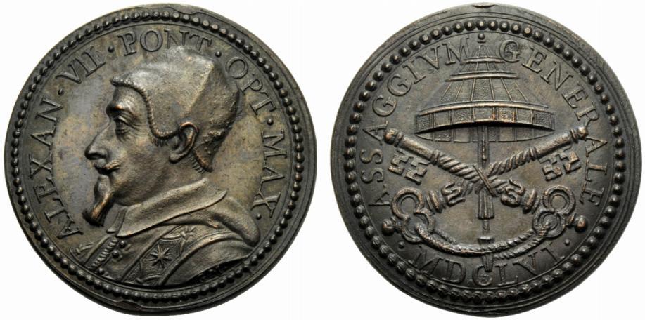 """Medaglia in bronzo con legenda ASSAGGIVM GENERALE coniata durante il pontificato di Alessandro VII Chigi (1655-1667): ricorda, per l'appunto, il buon esito delle operazioni di """"assaggio"""" delle nuove monete in zecca"""