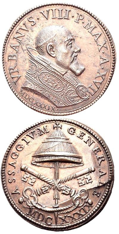 A nome di Urbano VIII, questo esemplare in bronzo datato 1639 venne riconiato dai Mazio nel XIX secolo per venire incontro alla richiesta di medaglie papali da parte di amatori e collezionisti: si noti la frattura del conio sul rovescio