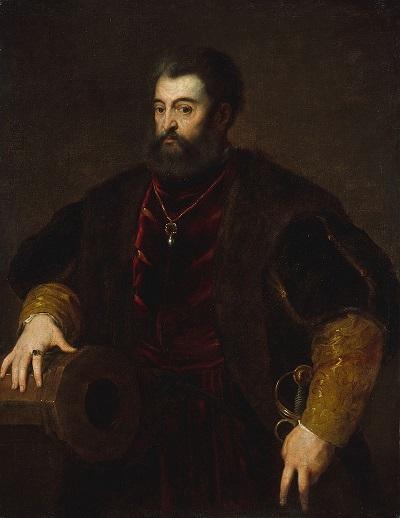Alfondo I d'Este, duca di Ferrara, ritratto da Tiziano con la mano significativamente poggiata su uno di quei cannoni che rendevano l'artiglieria ferrarese una delle migliori d'Europa