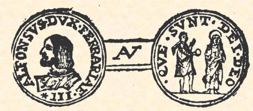 """Il doppio ducato ferrarese con Gesù che riceve la moneta del tributo dal fariseo illustrato nel volume di Vincenzo Bellini """"Delle monete di Ferrara"""" del 1761 (p. 191)"""
