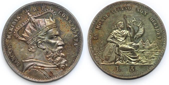 Tra gli esemplari d'eccezione del Museo del francobollo e della moneta di San Marino, in ambito numismatico figurano i progetti delle 5 lire datati 1867, moneta mai emessa e che sarà esposta insieme ai coni originali