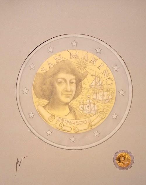 Bozzetto di Luciana De Simoni per i 2 euro commemorativi di San Marino del 2006 dedicati a Cristoforo Colombo: anche dei pezzi unici d'artista come questo arricchiranno il Museo del francobollo e della moneta