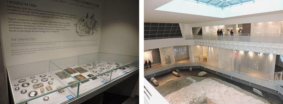 """Museo della Zecca: a sinistra, le cere e i modelli di Benedetto Pistrucci; a destra, il """"cortile interno"""" che permette di ammirare il sito archeologico rinvenuto durante la costruzione della nuova officina monetaria"""