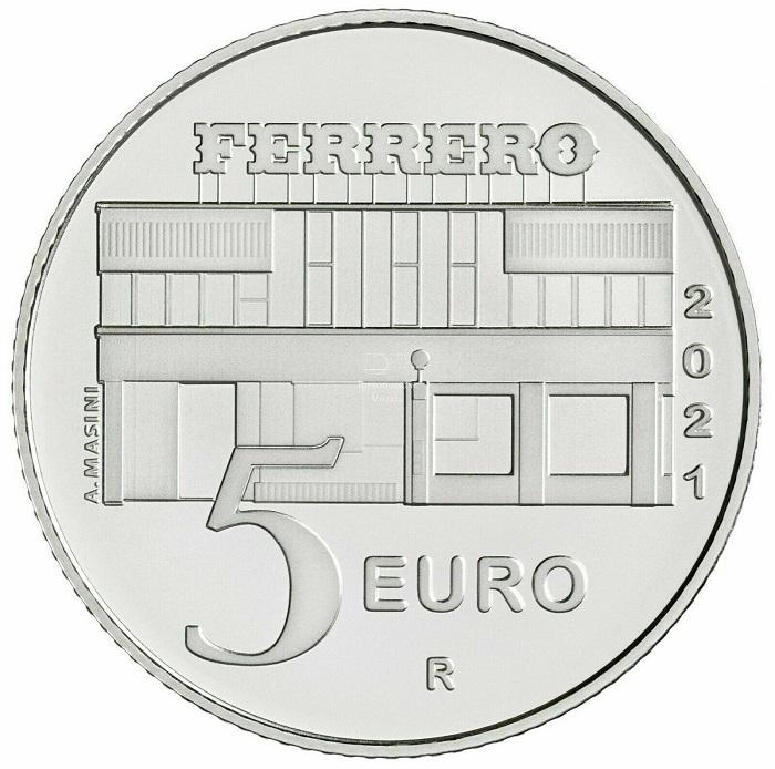 Lo stabilimento storico della multinazionale dolciaria Ferrero sul rovescio dei 5 euro italiani dedicati alla Nutella®, eccellenza italiana
