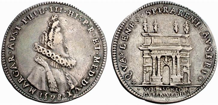 Esemplare in argento del mezzo filippo (o medaglia) per l'ingresso a Milano di Margherita, nel 1598: l'arco di trionfo al rovescio, quello di Porta Romana, appare ornato di quattro statue monumentali oggi scomparse