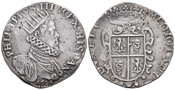 Ducatone in argento a nome di Filippo III di Spagna coniato dalla zecca di Milano nel 1608