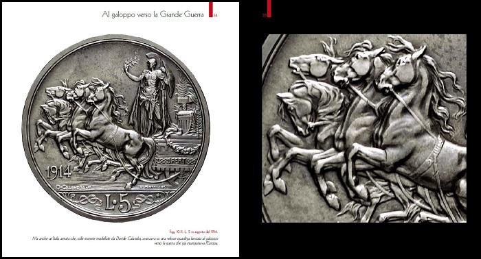 """Una lira celebre, anzi una 5 lire, quella con la quadriga firmata da Calandra e Motti che viene coniata nel 1914: è l'ultimo """"scudo"""" della storia italiana, emesso prima che la Grande guerra rivoluzioni anche la monetazione"""