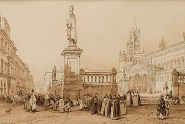 Stampa d'epoca che mostra uno scorcio della piazza di fronte alla Cattedrale di Palermo nella prima metà dell'Ottocento