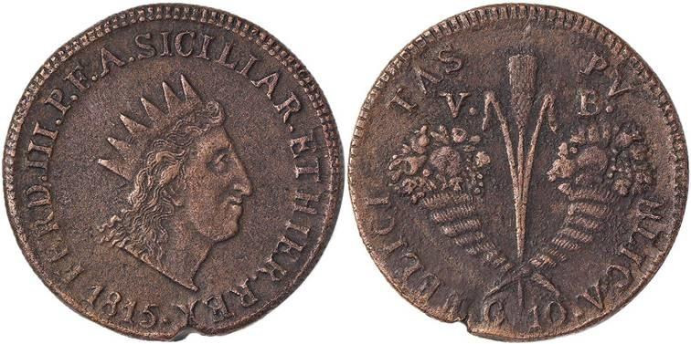 Moneta da 10 grani in rame del 1815, zecca di Palermo: al rovescio una spiga di frumento affiancata da due cornucopie speculari, traboccanti di frutti