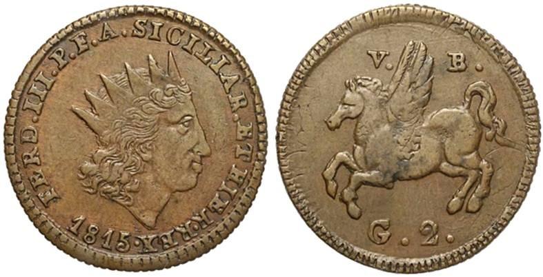 Moneta da 2 grani in rame del 1815, zecca di Palermo: al rovescio un bel pegaso alato mutuato dalla tradizione classica dell'isola