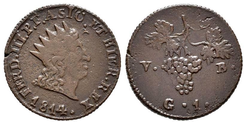 Moneta da 1 grano in rame del 1814, zecca di Palermo: al rovescio un rigoglioso grappolo d'uva, altro simbolo della fertile terra di Sicilia