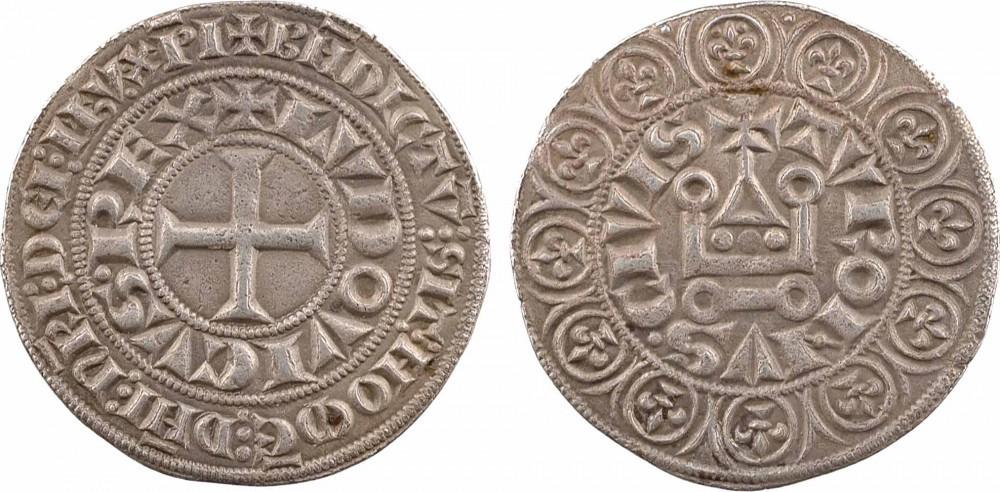 """Grosso tornese in argento coniato da Luigi IX """"Il Santo"""" (1226-1270) con al dritto la croce e le iscrizioni su due cerchi concentrici; al rovescio il castello stilizzato, la legenda e all'esterno un cerchio di giglietti di Francia"""