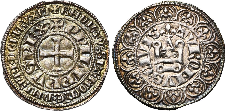 """Un bellissimo esemplare di grosso tornese a nome di Filippo IV """"il Bello"""" risalente al periodo 1285-1314: questo tipo di moneta si sarebbe diffuso e sarebbe stato imitato da varie zecche in Europa"""