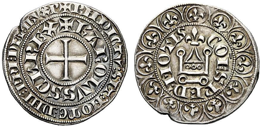 In Italia il grosso in argento di Luigi IX venne adottato e imitato, ad esempio, dalla zecca di Cuneo con Carlo II d'Angiò nel 1307-1309: ecco un raro esemplare a nome dell'allora re di Sicilia