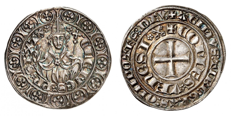 """Tra le """"varianti"""" sul tipo base del tornese c'è, ad esempio, questa battuta dalla zecca papale di Pont de Sorgues con le chiavette di san Pietro e il ritratto frontale di Clemente VI (1342-1352)"""