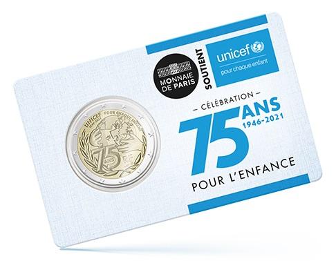I 2 euro UNICEF emessi dalla Francia qui in versione BU confezionati in coincard speciale
