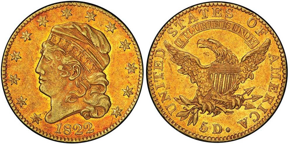 Coniata dal 1795 al 1929, la mezza aquila pesa 8,75 grammi a 917 millesimi di fino, per un diametro di 25 millimetri: ecco l'esemplare della D. Brent Pogue Collection del 1822 che in asta ha fatto segnare il realizzo record di 8,4 milioni di dollari