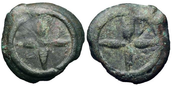 """Tra le monete che la bibliografia numismatica attribuisce all'antica """"Arretium"""" o ad officine della Valdichiana c'è questa tipologia di oncia fusa in bronzo del III secolo a.C."""