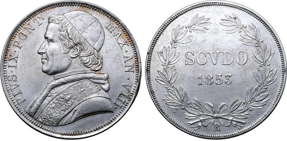 Moneta da uno scudo in argento coniata dalla zecca pontificia di Roma nel 1853