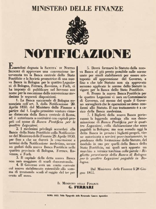 La notificazione con cui viene autorizzata la nascita della Banca Pontificia per le Quattro Legazioni, istituto di credito e di emissione