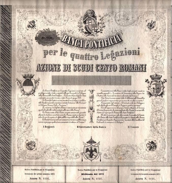 Un rarissimo certificato azionario del valore di cento scudi romani relativo alla nuova banca sorta nel capoluogo emiliano